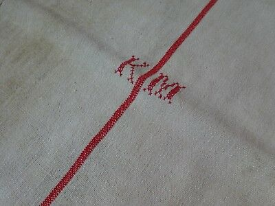 Antique European Feed Sack GRAIN SACK KM Monogram # 9196