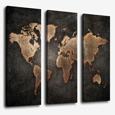 3Pcs/Set World Map Modern Abstract Canvas Picture Print Wall Art Home Decor