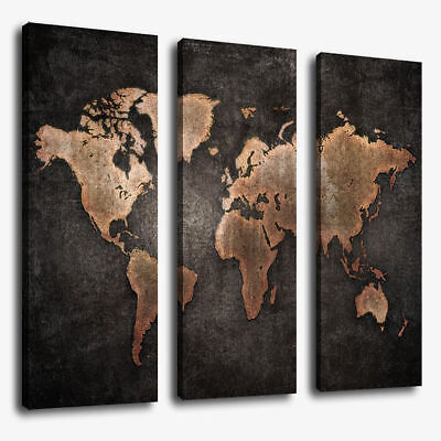 World Map Modern Abstract Canvas Picture Print Wall Art Home Decor 3 Pcs/Set