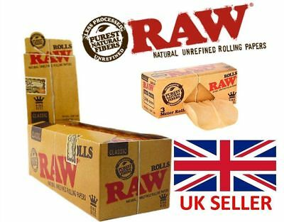 RAW Rolls Full Box 12 x 3m Slim Natural Rolling Paper Classic Kingsize Wide Rips