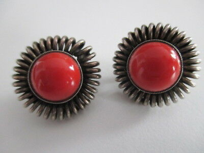 SILBER OHRRINGE ° 835 ° Art Deco ° ROTE STEINE ° OHRCLIPSE °