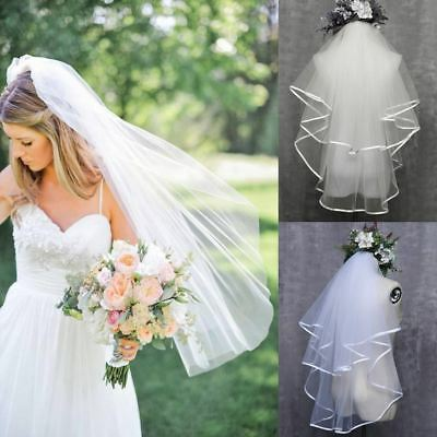 2T White Ivory Wedding Bridal Veil Satin Edge Comb Elbow Simple Cathedral UK