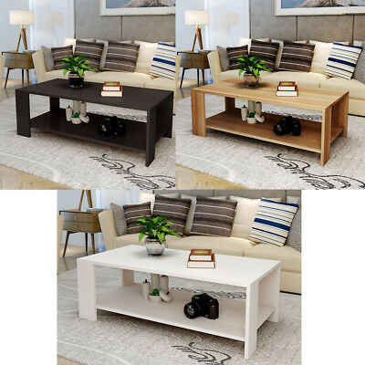 Rectangle Sofa Coffee End Table Storage Shelf Living Room White/Black/Wood Color
