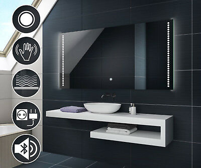LED Illuminated Bathroom Mirror L69 | Switch Demister Speaker Shaver Socket