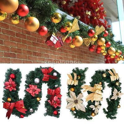 1.8M Cream Decorated Garland Christmas Decoration Xmas Fireplace Tree Pine 6FT