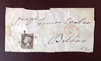 Spain 1850 Bilbao to Cenicero Cover With 6c Tied & Another 6c Return