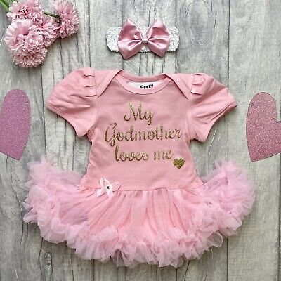 NEWBORN GODMOTHER TUTU ROMPER, Gold Glitter My Godmother loves me, Keepsake Gift