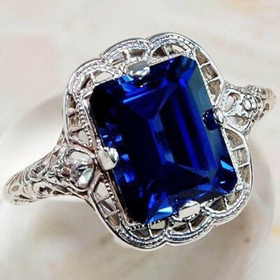 2CT Blue Sapphire 925 Solid Sterling Silver Art Deco Filigree Ring Jewelry Gifts