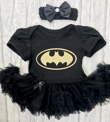 BATMAN tutu romper BABY GIRL Newborn Princess Gift SUPERHERO Marvel Present Cute