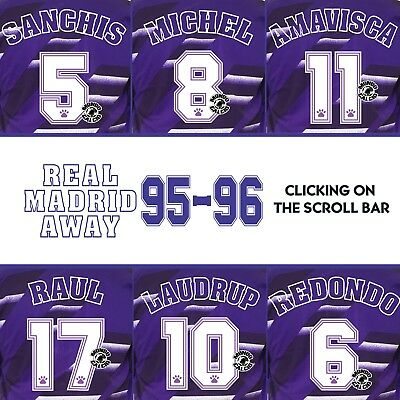 Real Madrid 1995-1996 Away Name Set Printing Kit Name Flocage