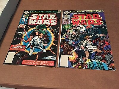 STAR WARS #1 & #2 35c REPRINT VARIANT 1977 MARVEL BRONZE AGE