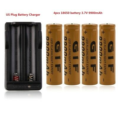4pcs 18650 3.7V 9900mAh High Drain Rechargeable Li-ion Battery With Charger New