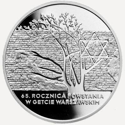 Poland 20 zl 2008 65th Anniversary of Warsaw Ghetto Uprising Silver Coin