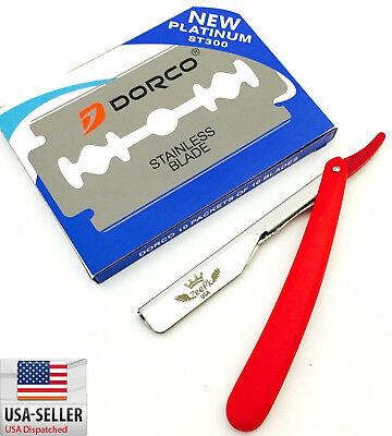 Barber Straight Razor Rasoir Cut Throat Shavette, 100 Dorco Blades Red Usa