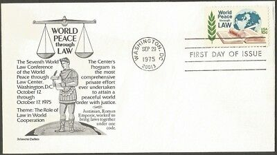 Us Fdc 1975 World Peace Through Law 10C Stamp Aristocrat First Day Of Issue