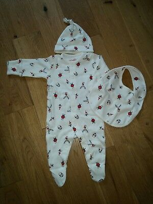 Next Christmas boys girls babygrow bib & hat set new without tags 0-3 months