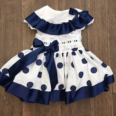 Baby Girls White And Navy Dress Size 3-6 Months