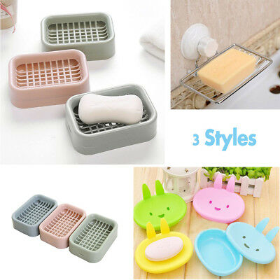 Bathroom Accessorie Shower Soap Box Dish Storage Tray Case Suction Holder Tool