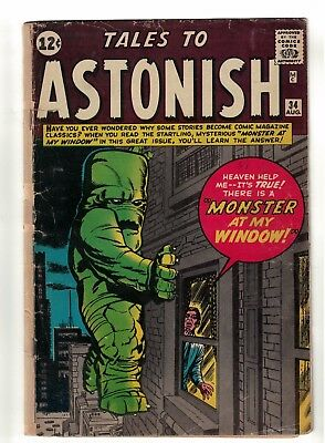 MARVEL COMICS TALES TO ASTONISH  34 VG- 3.0  1962 Monster