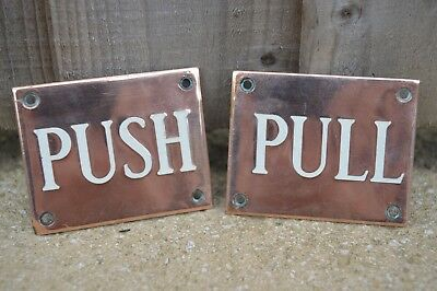 Vintage Brass Push - Pull Signs