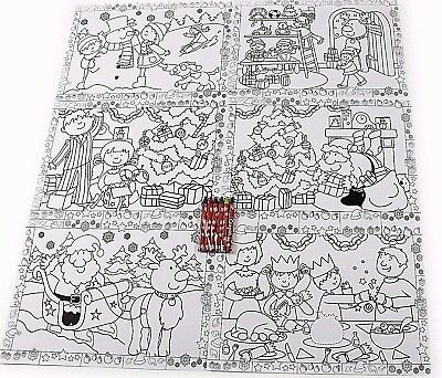 Kids Christmas Fun Colour your own table placemats Santa Snowman Reindeer Crafts