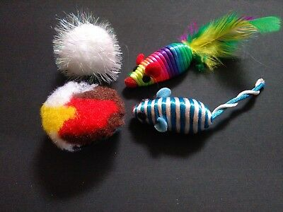 Four Fun Cat Toy Bright And Colourful Toys + Free Catnip Top up