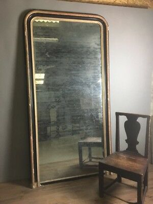 Antique French Mirror 7ft High Foxed And Mercury Plate