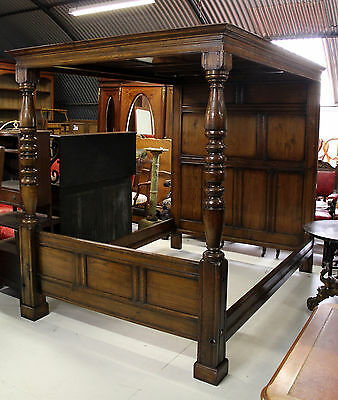 A 20Th Century Solid Oak Four Poster Bed