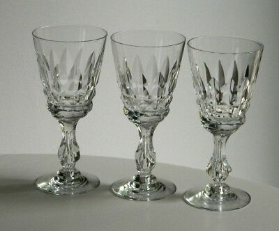 3 Obscure Tiffin Cut Glass Tall Water Goblets ANASTASIA #17714 Bubble Trap Stem