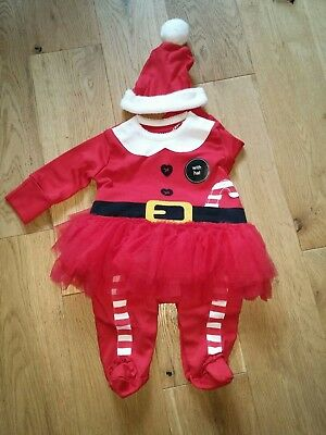 Next Christmas girls red santa tutu babygrow sleepsuit & hat set 0-3 months