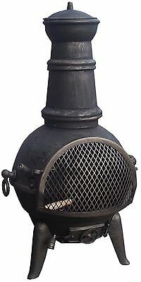 GARDEN CAST IRON CHIMENEA CHIMNEA CHIMINEA PATIO HEATER WOOD FIRE PIT 85cm