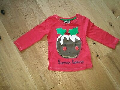 Next Christmas girls Kissmas Pudding long sleeve top 3-6 months new with tags