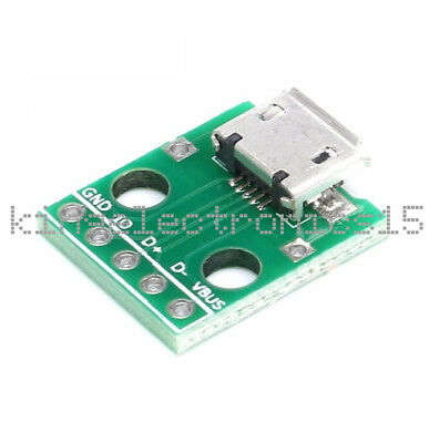 20pcs 5-pin Female micro usb to DIP Adapter 2.54mm Pinboard PCB Connector MECA