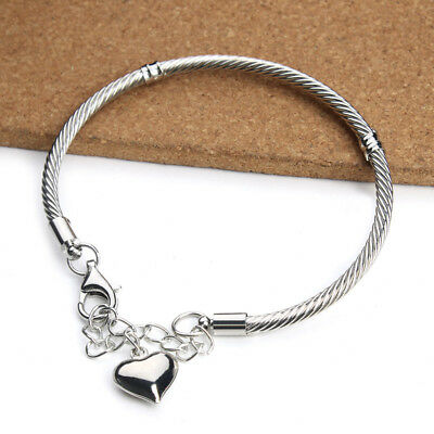 2pcs/lot 19CM Silver Plated Copper Heart Pendant With Lobster Clasp Charm Bangle