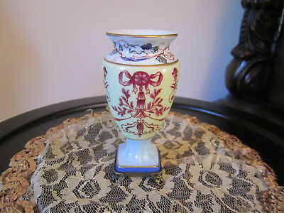 """Porcelain White W/bows Vase/Urn With Brass  Base4.5"""""""" Tall  Stunning"""