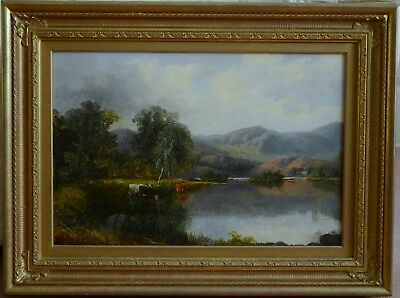 Fine Antique 19th Century Mountain Landscape Oil On Canvas Painting