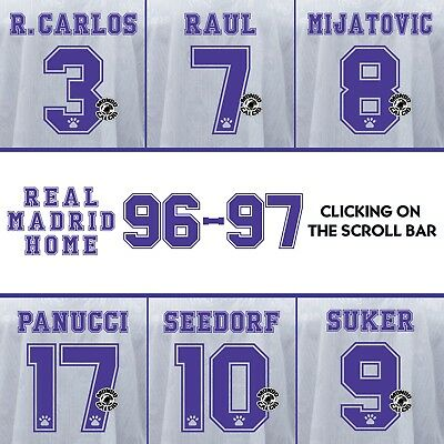 Real Madrid 1996-1997 Home Name Set Printing Kit Name Flocage