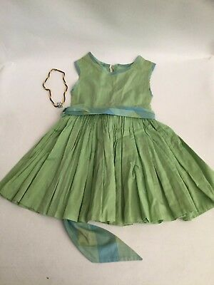 Vintage Little Girls Dress and Necklace Set 1950 Pleated 3-5t