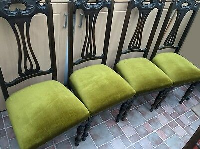 Edwardian Walnut Dining Chairs x 4 Upholstery Excellent Usual Wear on Frames