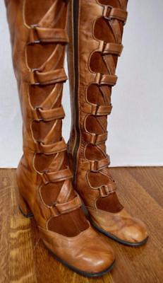 Vtg 1970's Leather Suede Laced Go Go HiPPiE MOD Gladiator Steampunk Boots Shoes