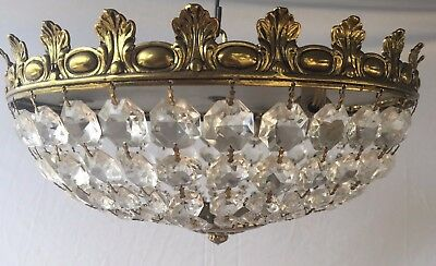 Basket Chandelier, Crystal and Brass, Antique, Ornate, French/Spanish, 31cm.