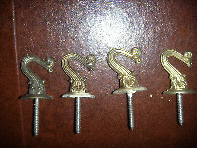Lot of 4 Vintage Ceiling Hooks Hangers Bronze Brass