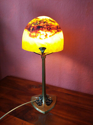 Edgar Brandt Tischlampe Bronze Table lamp signiert signed Daum Nancy Art Deco