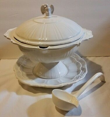 Vintage 4 Pc Stoneware Lane Co Americana Tureen With Ladle