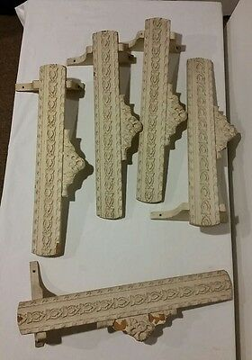 Antique Victorian Architectural Wood Window Toppers Set Of 5