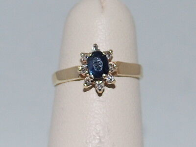 10k Gold ring with Blue Sapphire(September birthstone) and Diamonds