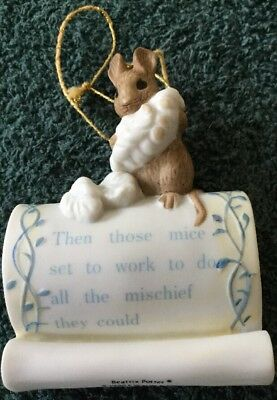 Schmid Collectible Ornament Beatrice Potter 1990, Mouse Sitting On Scroll