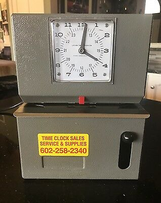 Latham Time Recorder Stamp Time Clock Heavy Duty Gray Case With Key
