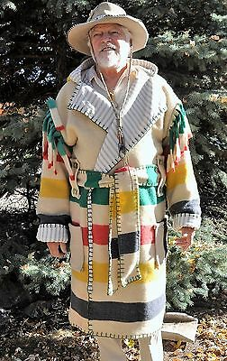 Wool Blanket Capote - Coat, 2XL, 4 Point Vintage Early's Candy Stripe, Hunting