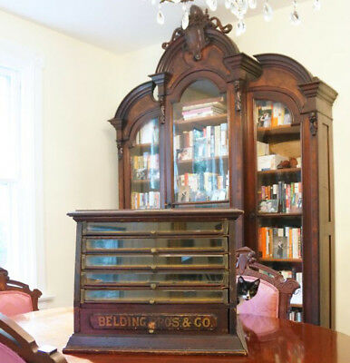 Antique spool cabinet! Original advertising text, glass front drawers, general s